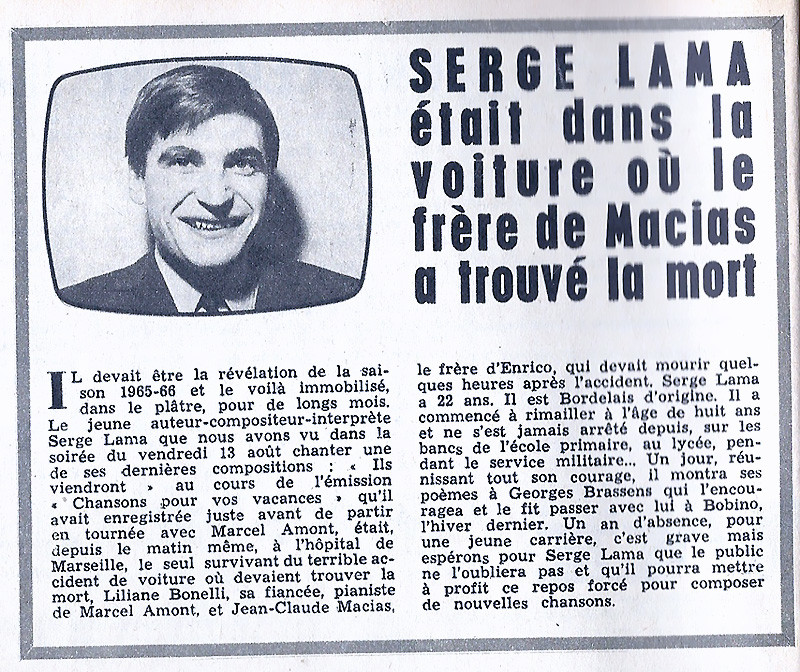 Article de presse sur l'accident de voiture de Serge Lama